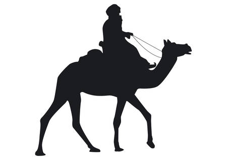 carolers: A camel rider - Bedouin - shown in side view in silhouette. Illustration