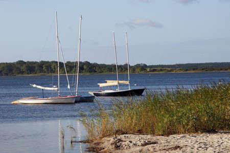 Die 4 kleinen Boote dümpeln eng nebeneinander im Glatten Wasser der Meeresbucht. Der wundervolle Natursandtrand im vordergrund Wird von Hohem Schilfgras Begrenzt. Standard-Bild - 34580868