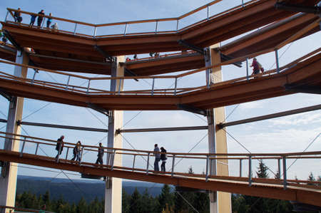 heights job: The 40 meter high observation tower of the treetop path in Bad Wildbad. The view is high on the last three floors of which you can see to the horizon the mountains of the Black Forest. The tower is a new attraction throughout the Black Forest.