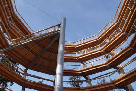 heights job: The 40 meter high observation tower of the forest summit path in Bad Wildbad. The wooden Rampfen lead without barrier around the central metal column ever upward. The ramps forming an imposing dodecagon and from each floor exciting new vistas.