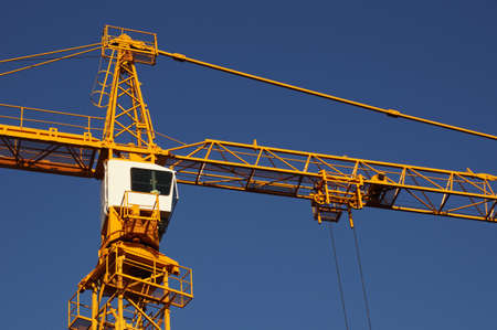 Wheelhouse of a high crane Stock Photo - 87750542