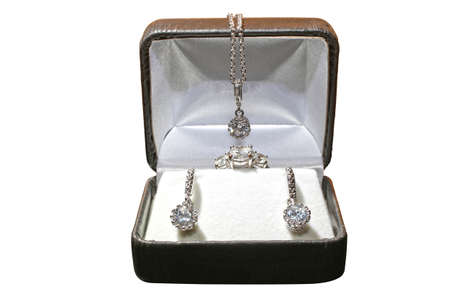 Various gift alternatives for 3-stone ring and jewelry set Stockfoto