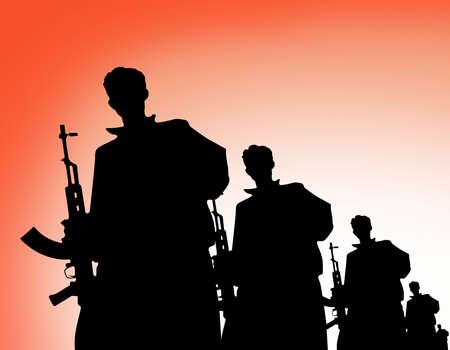 Terrorist organization silhouette. Terrorism shadow bady consept.