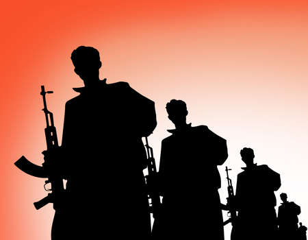 terrorists: Terrorist organization silhouette. Terrorism shadow bady consept. Stock Photo