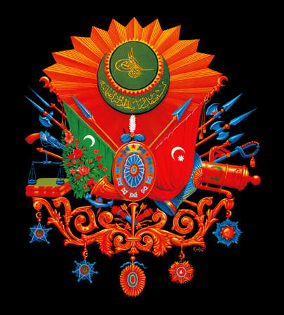 turkish flag: The ottoman empire concept illustration. Ottoman symbol. (in cluding path)