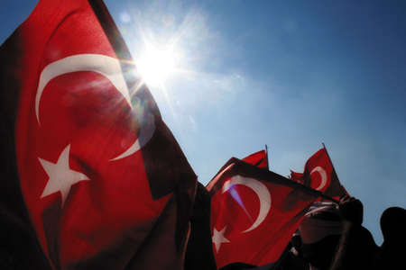 Nationalism consept image.  Turkish flags and Nationalism. photo