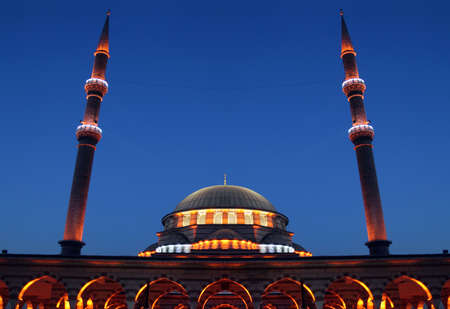 turkiye: a night view of Blue Mosque when its lights are turned on Stock Photo