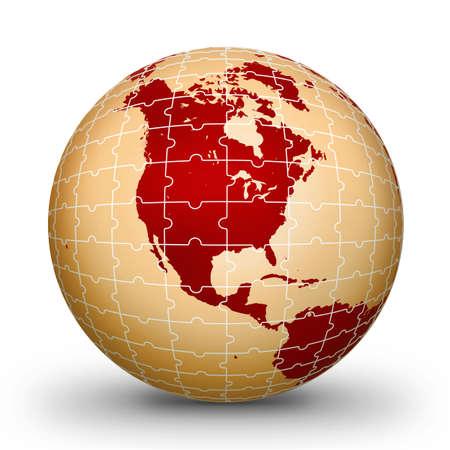 globe puzzle: Puzzle world illustration red World globe - world illustration.World. Globe. World-globe