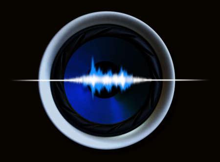 oscilloscope: Vivi altoparlanti ad alte prestazioni ... Le onde sonore illustrazione. che mostra gli altoparlanti surround capacit�