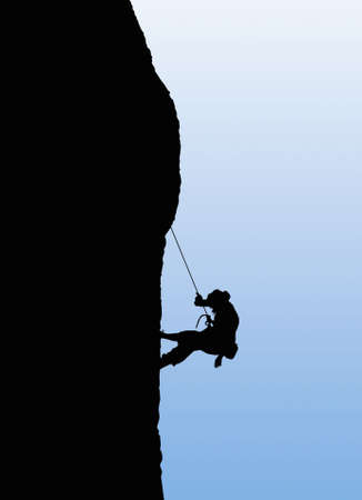 adrenaline: Illustration of person rock climbing. Mountaineer illustration