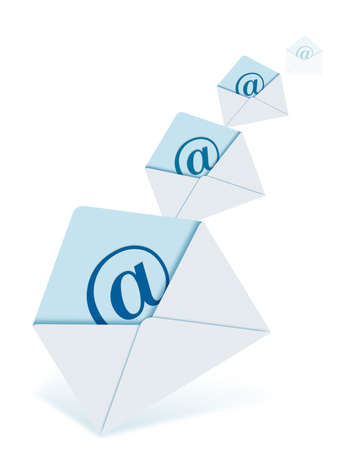 gmail: a lots of mail letters which are at different sizes. They has a @ sign on them. Stock Photo