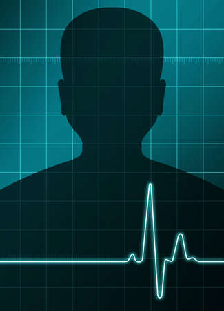 heart ecg trace: a man in background with a heart analysis sign