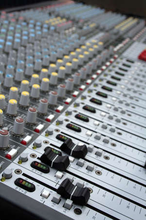 music production: Mixer of a digital technology and controlpanel for djs. Radio mixer Stock Photo