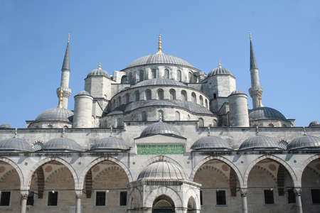 camii: A detail view of blue mosque from its garden. Sultanahmet mosque