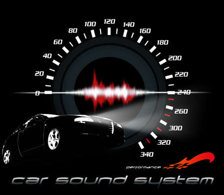 decibel: Car and sound system working illustration. Car and sound performance illustration. Car sound working Stock Photo