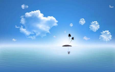 isles: island scene illustration. Scene background.