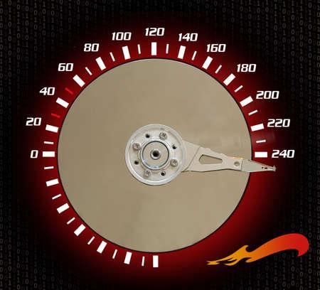Speedometer pointig at 240 kph. photo