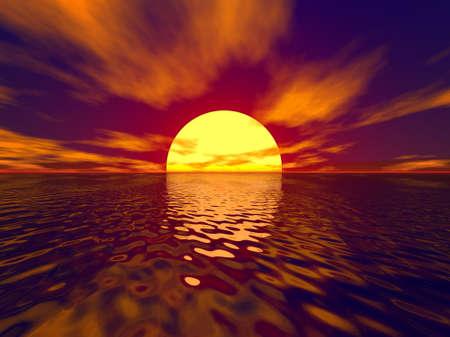 wather: Sunset and sunbeam scene. Sunset wide angle.