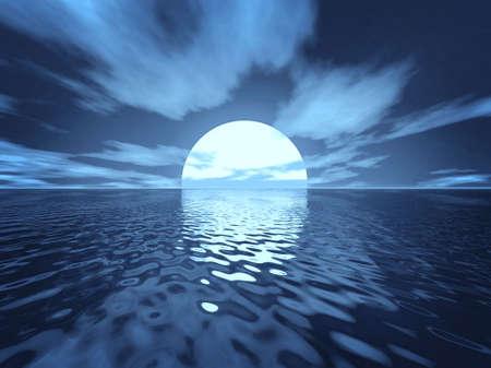 wather: Moon scene. Sunset and sunbeam scene. Sunset wide angle.