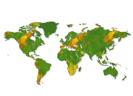 0 geography: An unfolded map of the world Stock Photo