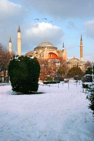 sophia: Hagia sophia in istanbul, Turkey Hagia Sophia sunset.Mosque winter scene
