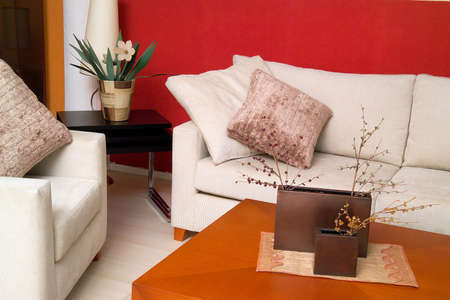 Contemporary home design.Living room.  Stock Photo