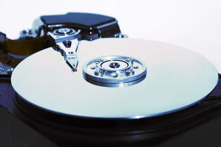 Close-up of the opened hard disc drive.rHarddisc drive technonology Stock Photo