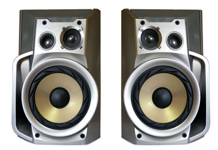 tweeter: Closeup of bass reflex speaker Stock Photo