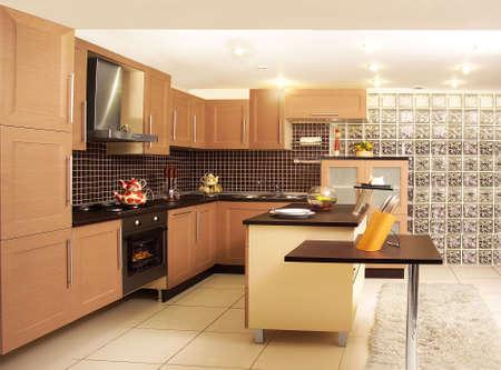 A kitchen with its modern furniture. Modern kitchen photo