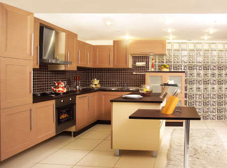 A kitchen with its modern furniture. Modern kitchen