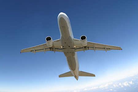 Plane landing or flying away Stock Photo