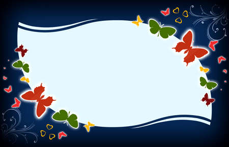 butterfly stationary: Flowers background illustration.