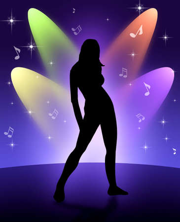 Dancing girl illustration;this photo shows rhythm of the listening music with a walkman or a ipod...etc and shows that the listening music a lifestyle with dance.Also used a opposite situation like a evolution of natural lifestyle to technical and acousti illustration
