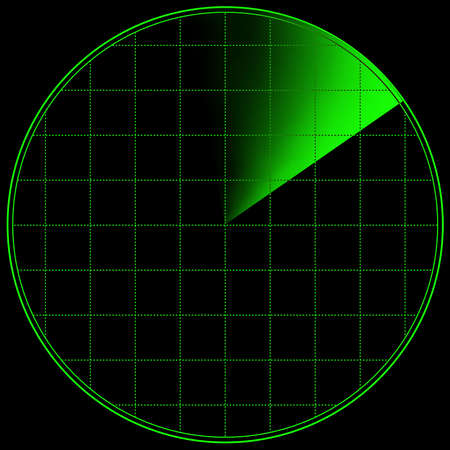 vigilance: Radar screen with land outlines and blips