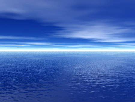 treed: Skyline and sky background. Background. Blue sky and sea with slight cloud. Sky-sea.Background - Abstract background. Blue background. Blue-background. Stock Photo