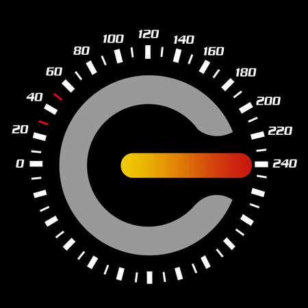 kph: Speedometer pointig at 240 kph.