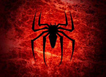 the bloodsucker: Bloodsucker spider illustration.Spider silhouette background.