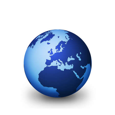 0 geography: Shiny blue globe with white background with drop shaddow.  Stock Photo