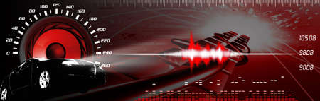 sound system: Car sound banner - banner Car and sound system working. Car and sound performance illustration. Tecnology banner.