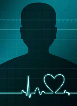 physical exam: in fondo un uomo con un cuore di analisi segno Archivio Fotografico