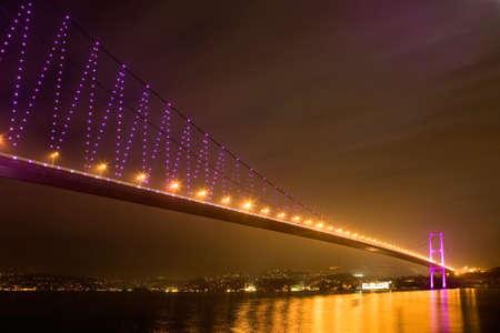 bogazici: istanbul basphorus bridge. istanbul night city scene.