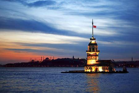 istanbul city night scene. Turkish culture. Stock Photo
