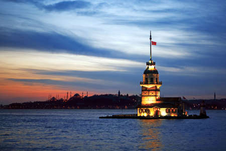 istanbul city night scene. Turkish culture. Stock Photo