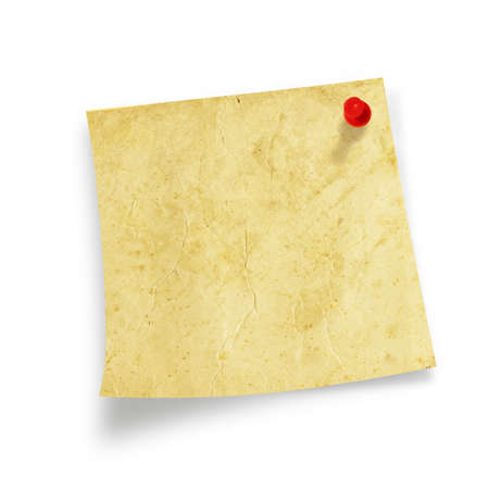 bulletinboard: Post it isolated on white background. Old paper postit.. Stock Photo