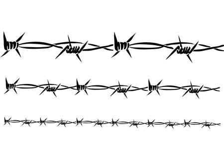 barbed wires: Tres alambres de p�as cerca unos de otros