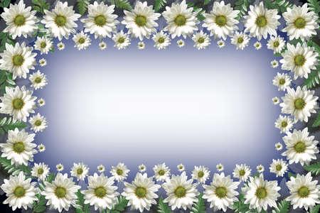 moody sky: Fiori estate Collage - margherite e altri fiori a viola, verde e giallo, photomanipulation sfondo. Daisy telaio progettazione.