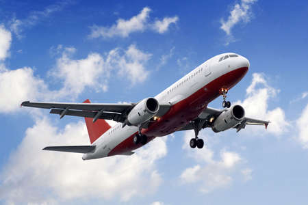 Plane landing or flying away. Plane-sky. Plane.  Stock Photo