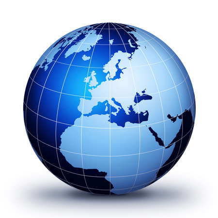 blue globe: World globe concept design. World globe illustration. Stock Photo