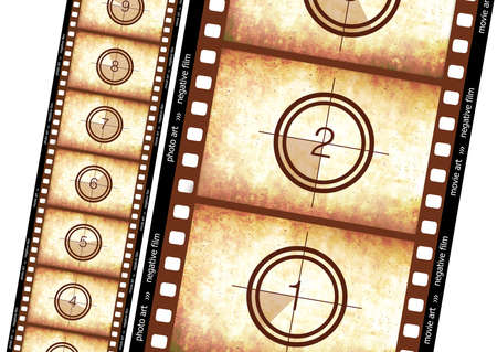 Historical film effect... Count back... 35mm filmstrip.  High detailed drawing.