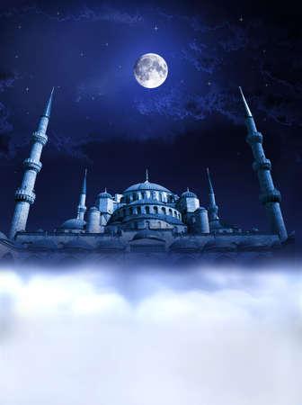 Mosque night dream concept. Night islamic paradise and heaven...